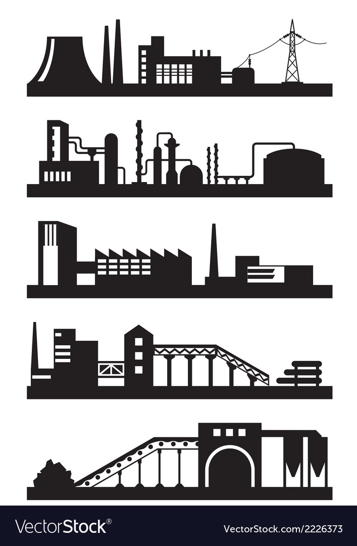 Various industrial plants vector | Price: 1 Credit (USD $1)