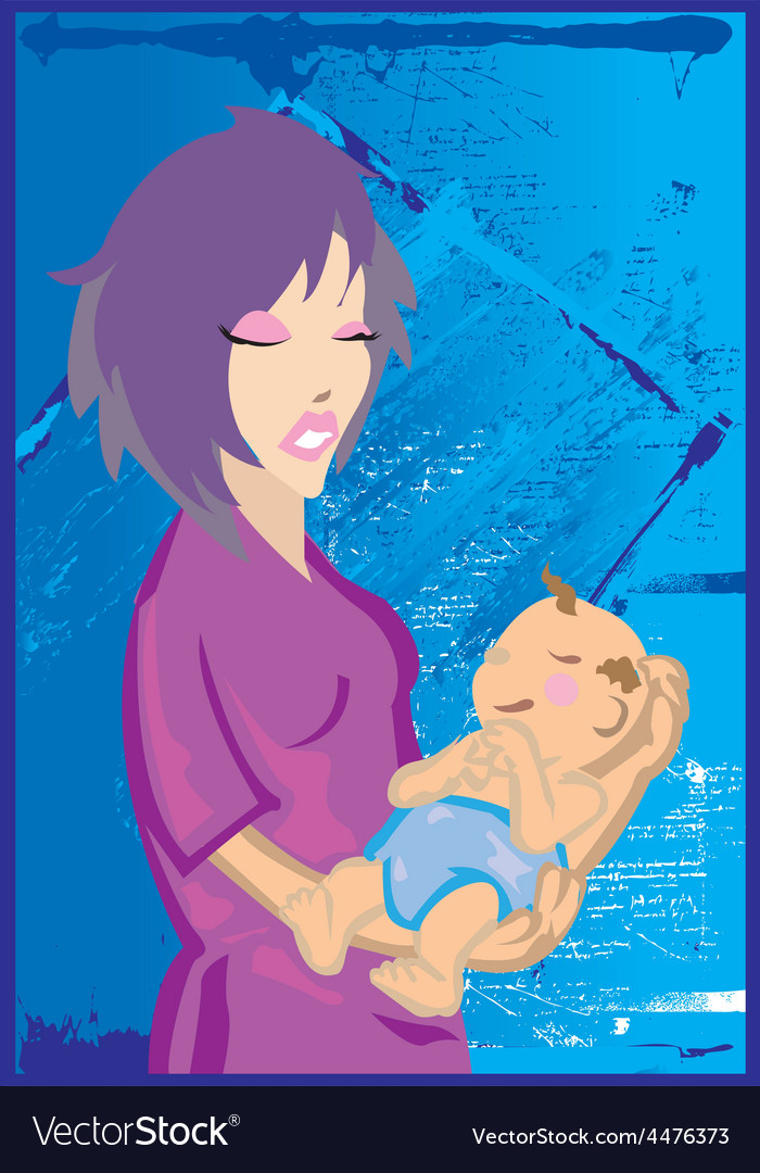 Woman holding baby vector | Price: 1 Credit (USD $1)