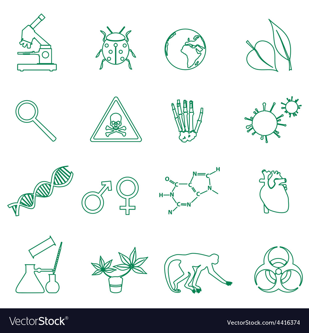 Biology simple green outline icons set eps10 vector | Price: 1 Credit (USD $1)