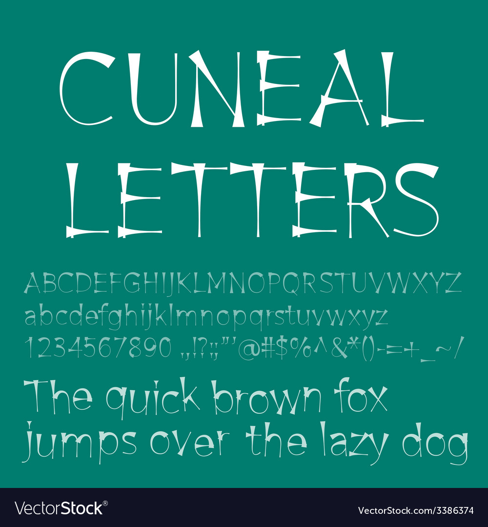 Cuneal letters and numbers vector | Price: 1 Credit (USD $1)
