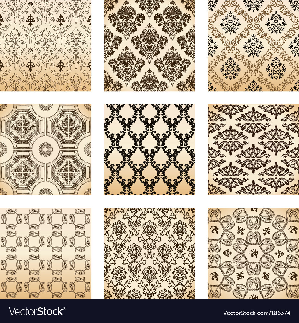 Floral wallpaper pattern vector | Price: 1 Credit (USD $1)