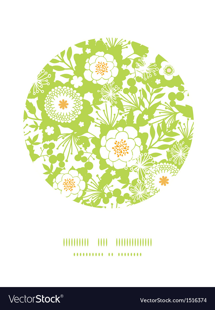 Green and golden garden silhouettes circle decor vector | Price: 1 Credit (USD $1)