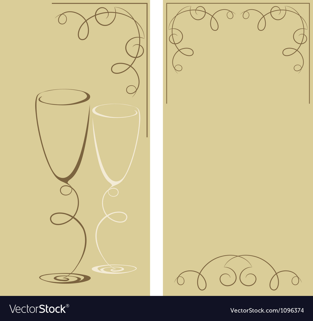 Greeting card with two wine glasses vector | Price: 1 Credit (USD $1)