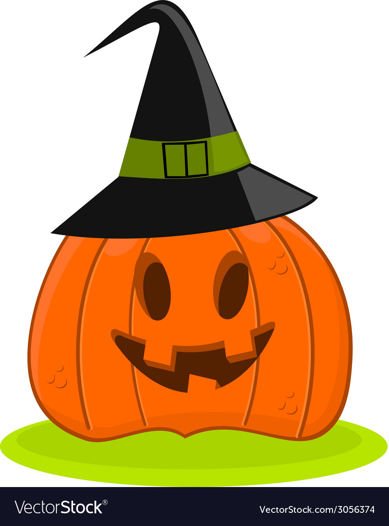 Halloween pumpkin jack o lantern in a witch hat vector | Price: 1 Credit (USD $1)