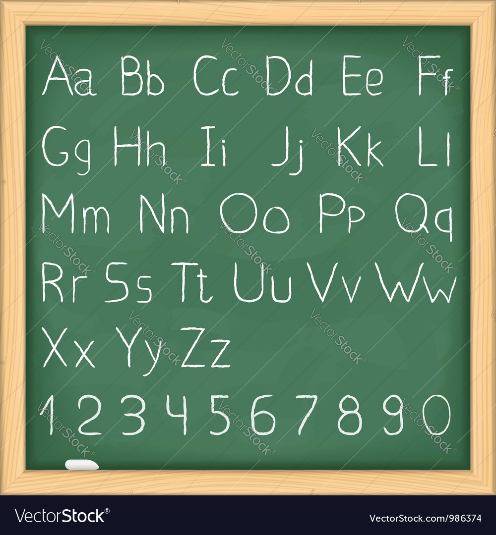 Hand drawn alphabet on blackboard vector | Price: 1 Credit (USD $1)