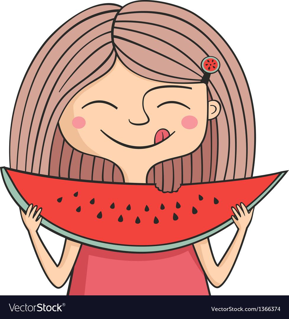 Happy girl eats sweet watermelon vector | Price: 3 Credit (USD $3)