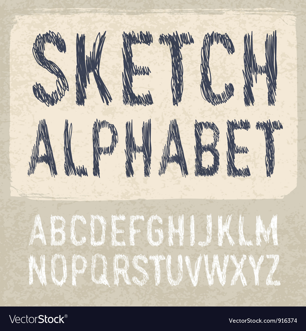 Hatching alphabet vector | Price: 1 Credit (USD $1)