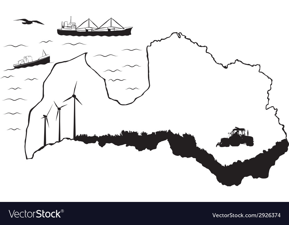 Latvia with ships 2 flat vector | Price: 1 Credit (USD $1)
