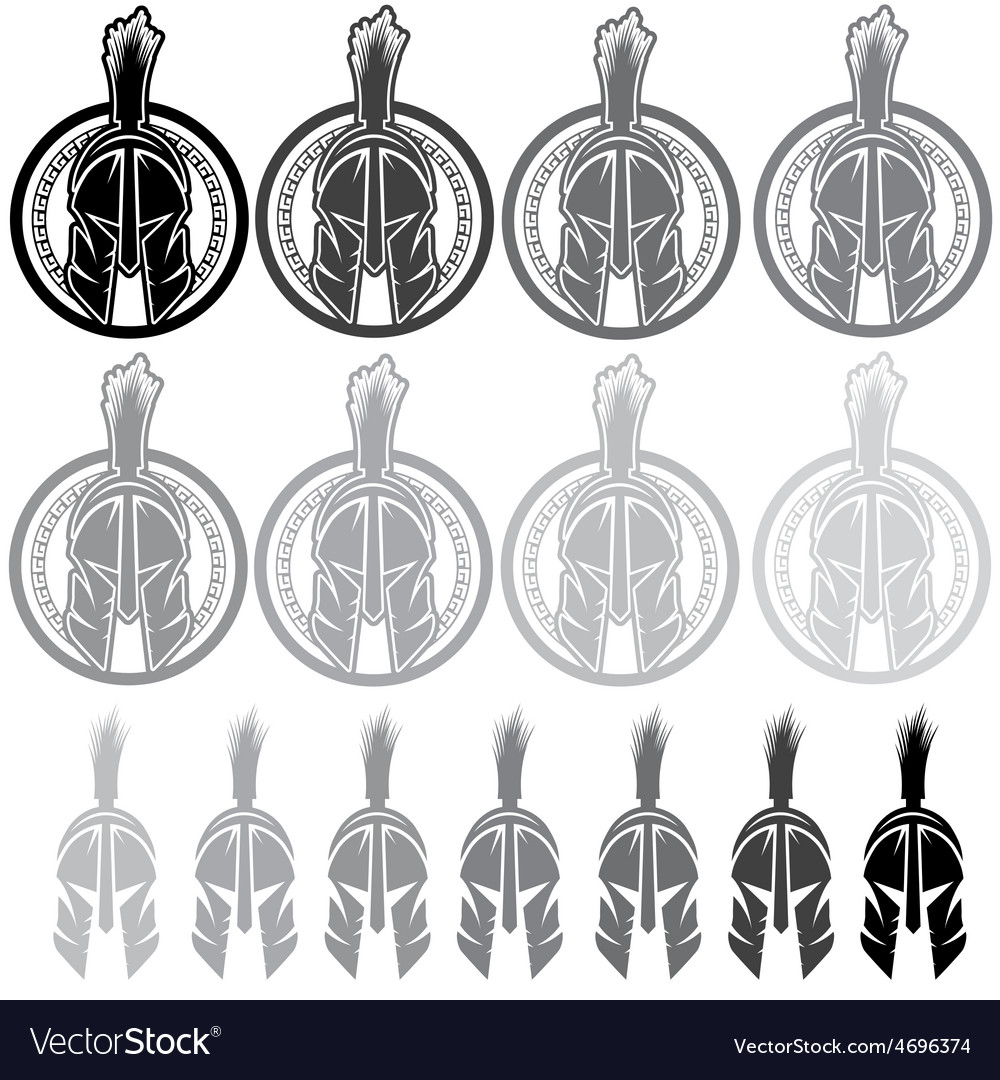 Set of shields with spartan warrior vector | Price: 1 Credit (USD $1)