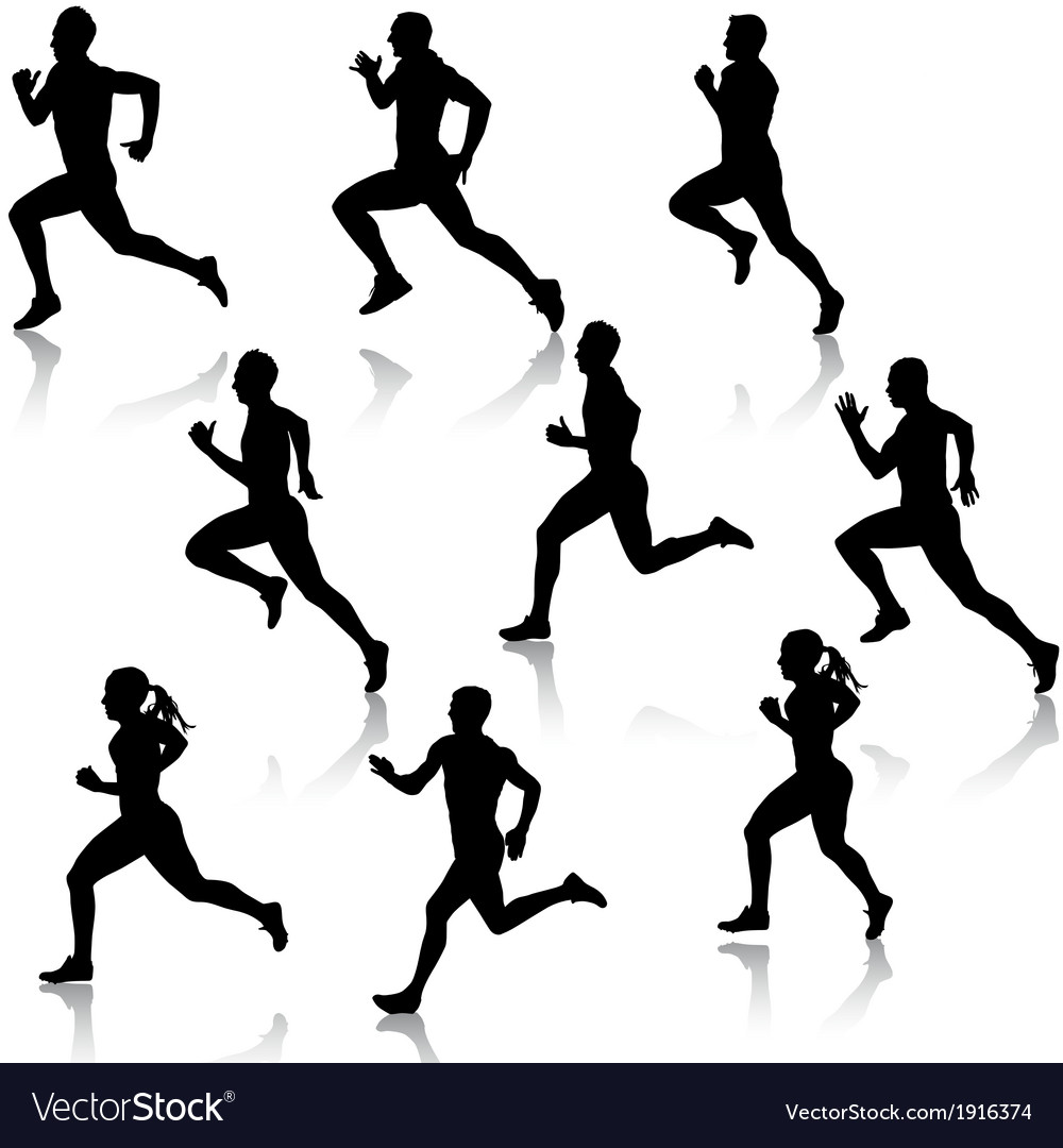 Set running silhouettes vector | Price: 1 Credit (USD $1)