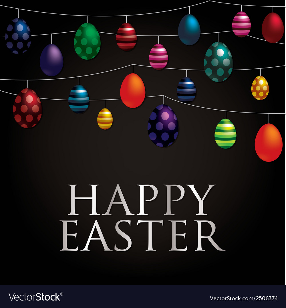 String of easter eggs card in format vector | Price: 1 Credit (USD $1)