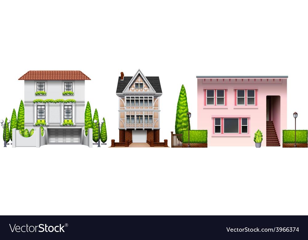 Three building designs vector | Price: 1 Credit (USD $1)