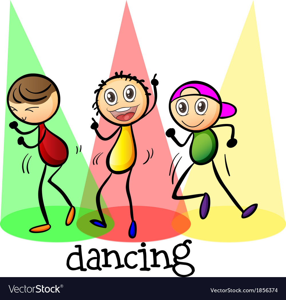 Three men dancing vector | Price: 1 Credit (USD $1)
