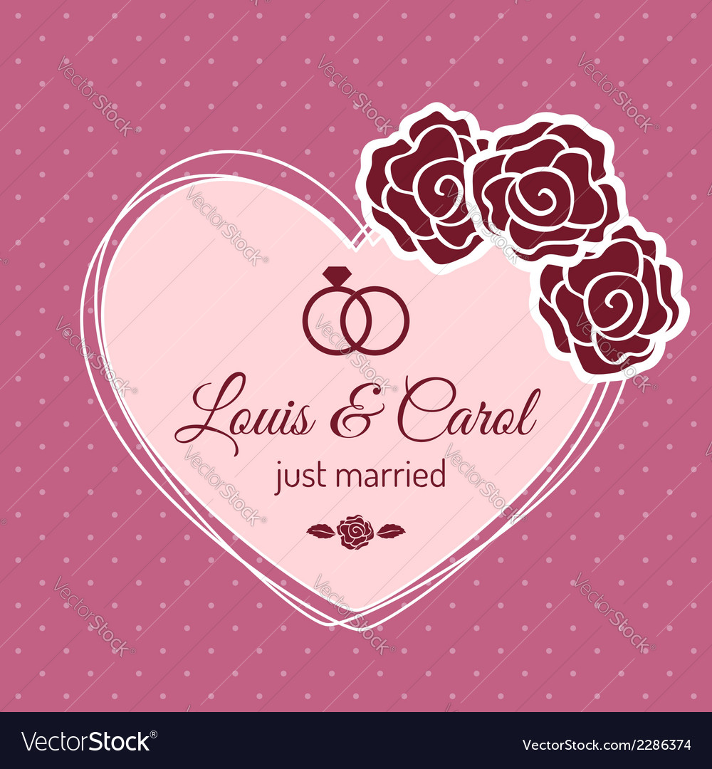 Vintage just married wedding card vector | Price: 1 Credit (USD $1)
