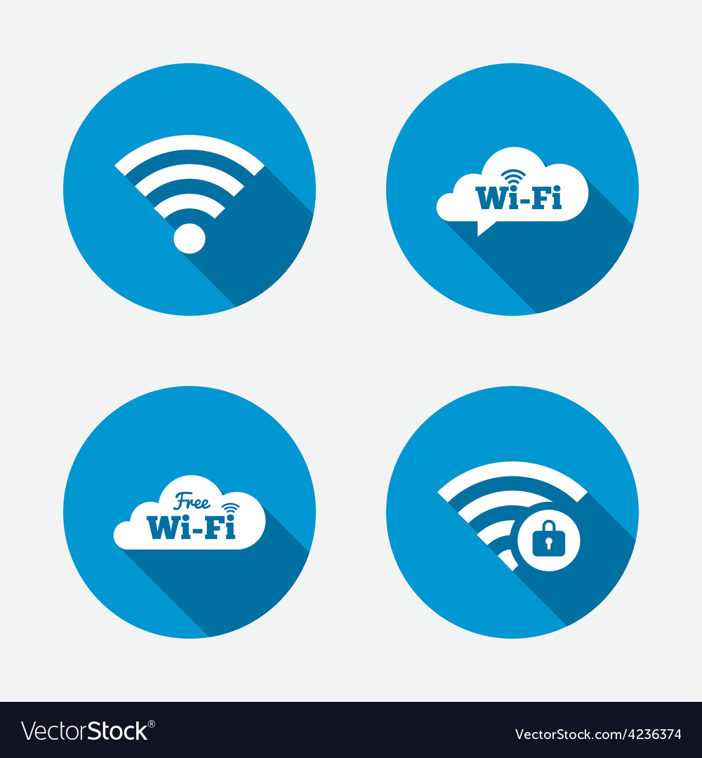 Wifi wireless network icons wi-fi zone locked vector | Price: 1 Credit (USD $1)