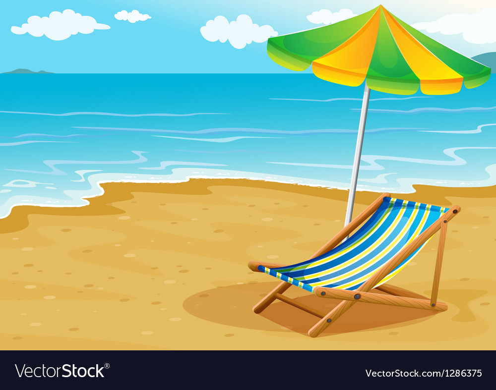 A seashore with a bench and an umbrella vector | Price: 1 Credit (USD $1)