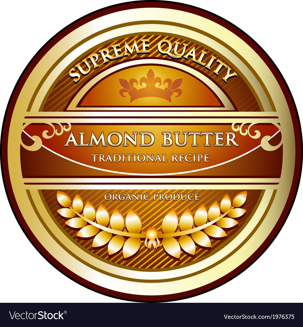 Almond butter label vector | Price: 1 Credit (USD $1)