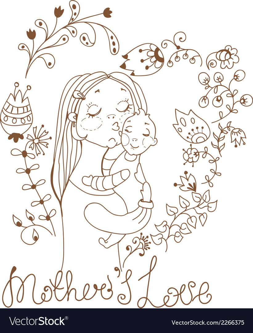 Background with mother and baby and flowers vector | Price: 1 Credit (USD $1)