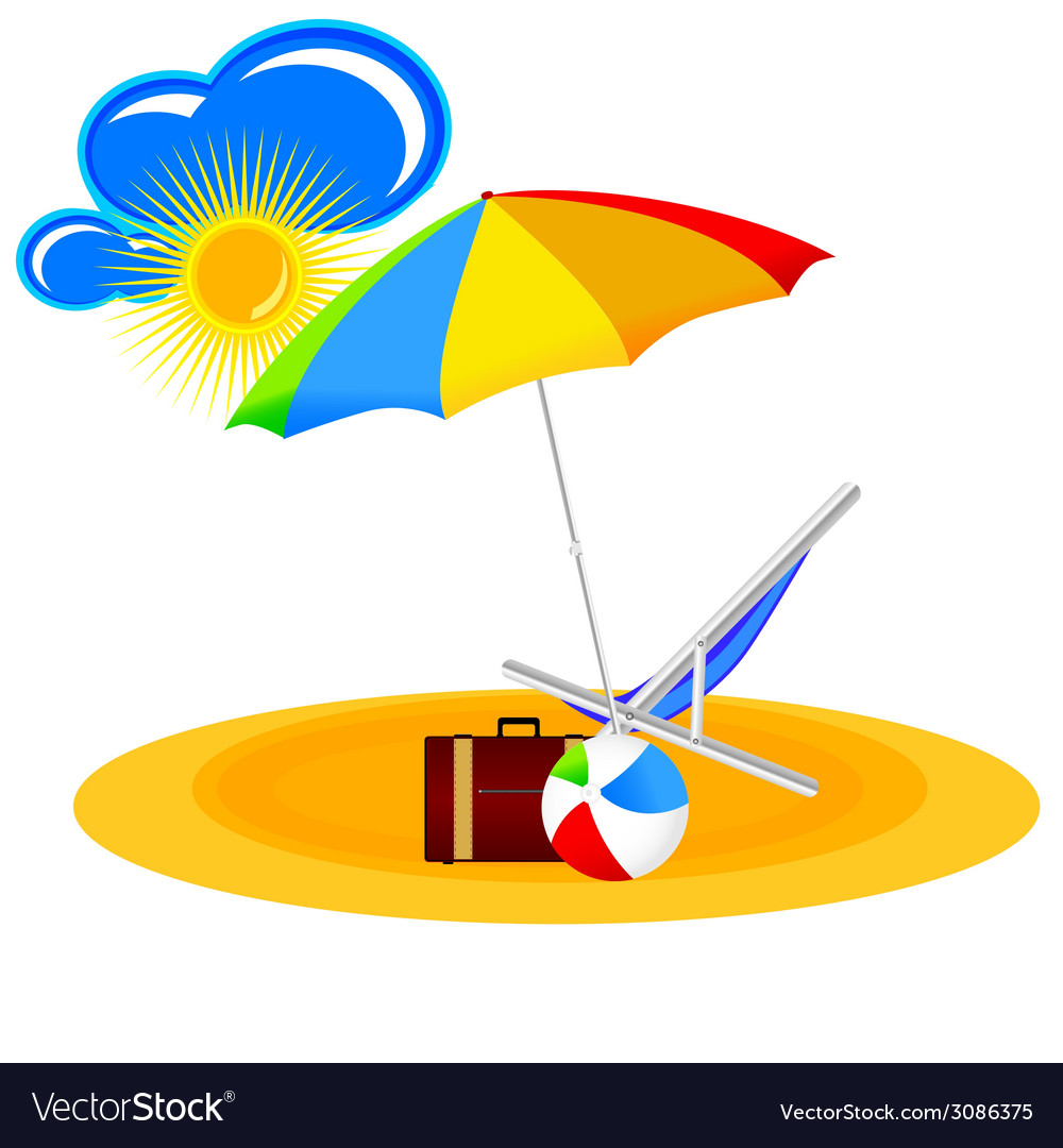 Beach paradise with beach stuff cartoon vector | Price: 1 Credit (USD $1)