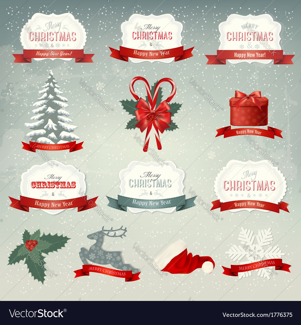 Big collection of christmas icons and design vector | Price: 1 Credit (USD $1)