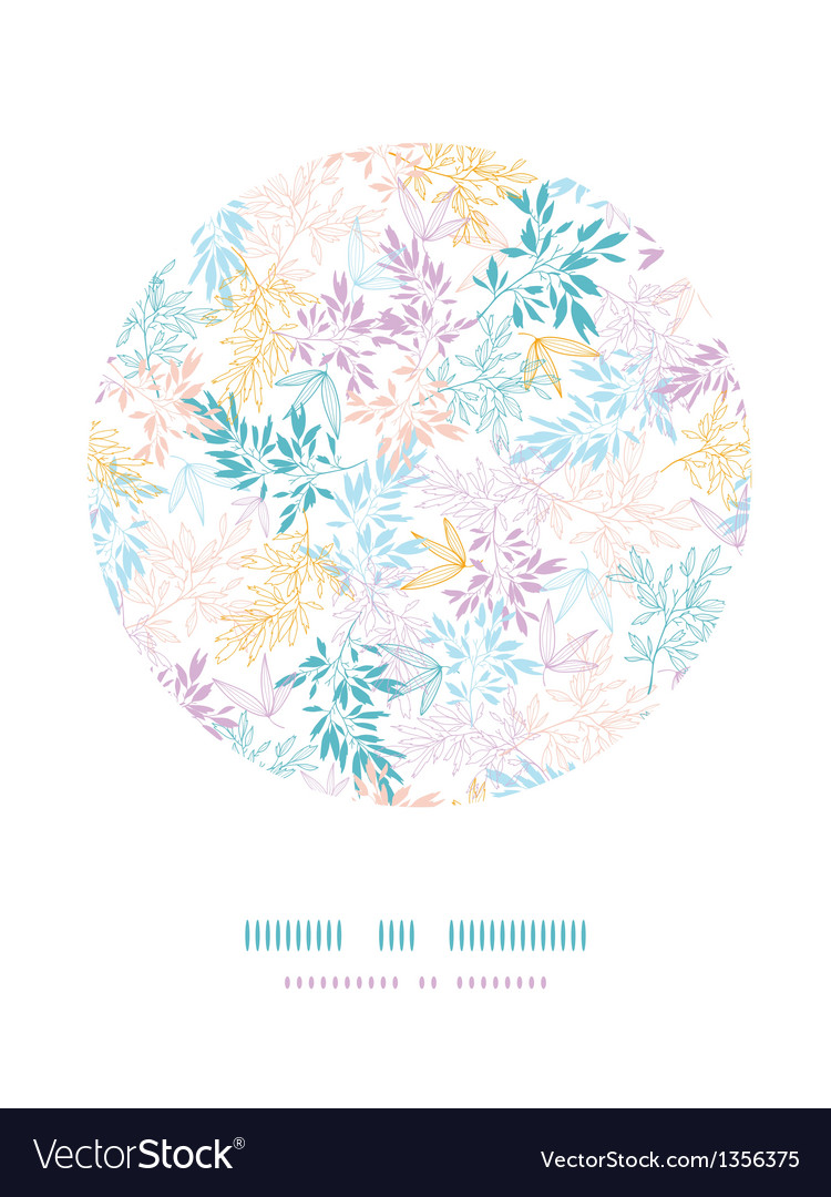 Colorful pastel branches sircle vignette pattern vector | Price: 1 Credit (USD $1)