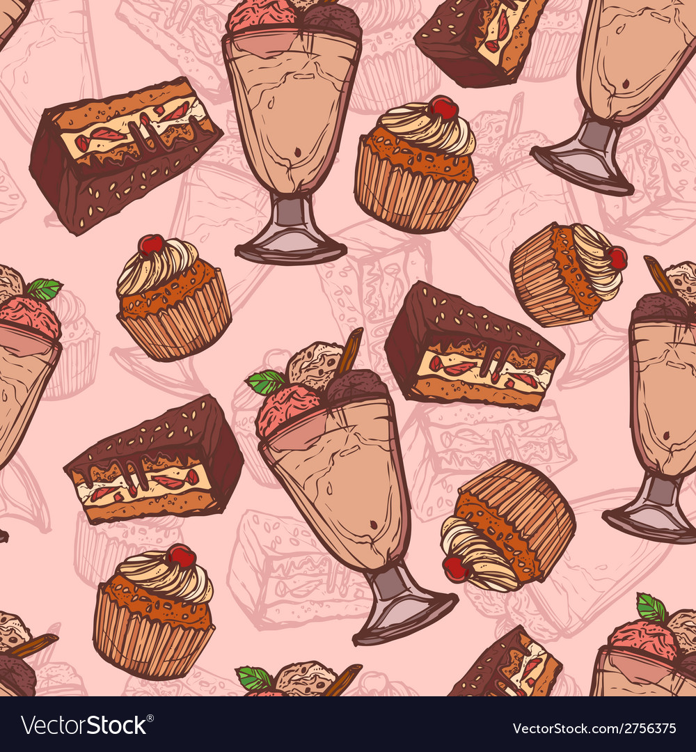 Dessert sketch seamless pattern vector | Price: 1 Credit (USD $1)