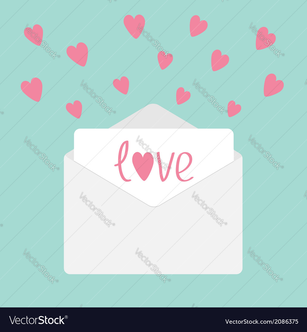 Envelope with hearts love card vector | Price: 1 Credit (USD $1)