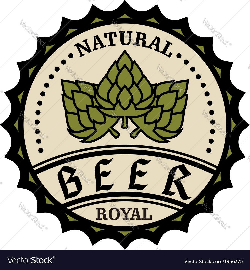Natural royal beer icon or bottle cap design vector | Price: 1 Credit (USD $1)