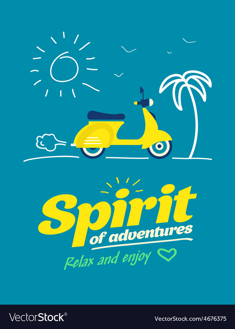 Summer typography poster with flat retro moto bike vector | Price: 1 Credit (USD $1)