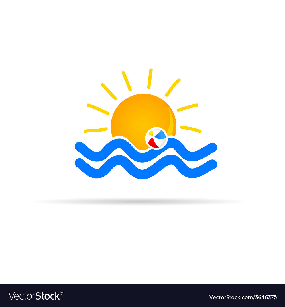 Sun icon with beach ball color vector | Price: 1 Credit (USD $1)