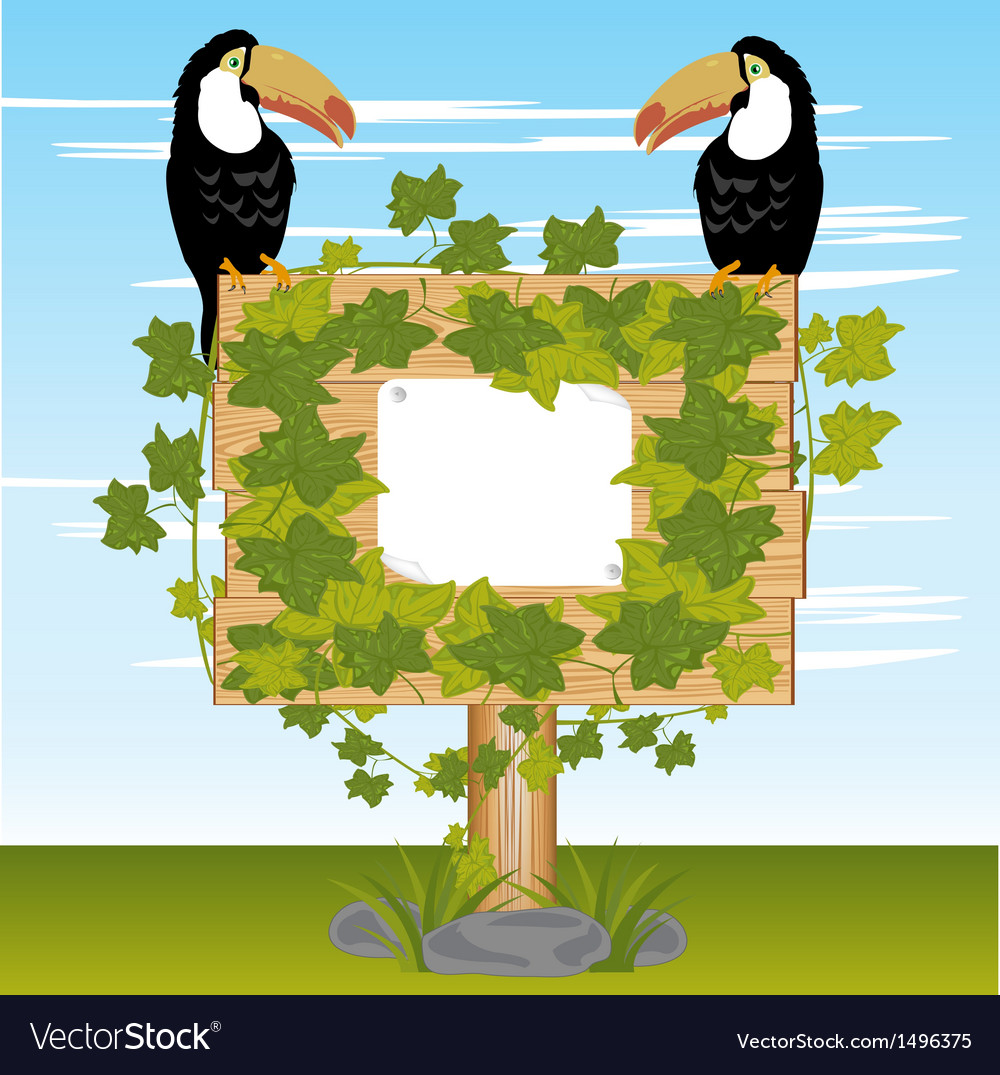 Wooden shield  plants and birds vector | Price: 1 Credit (USD $1)