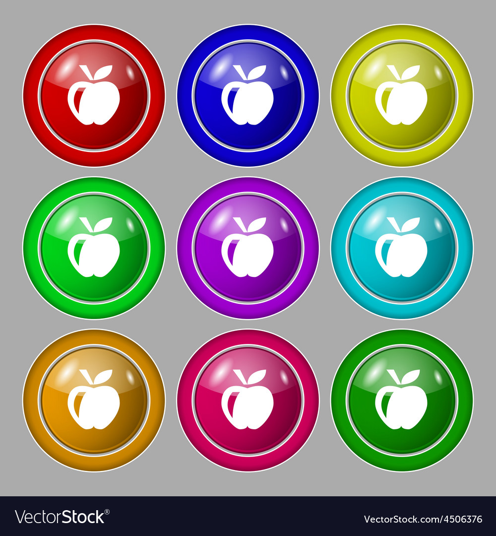 Apple icon sign symbol on nine round colourful vector | Price: 1 Credit (USD $1)