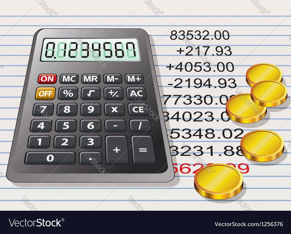 Calculator and golden coins vector | Price: 3 Credit (USD $3)