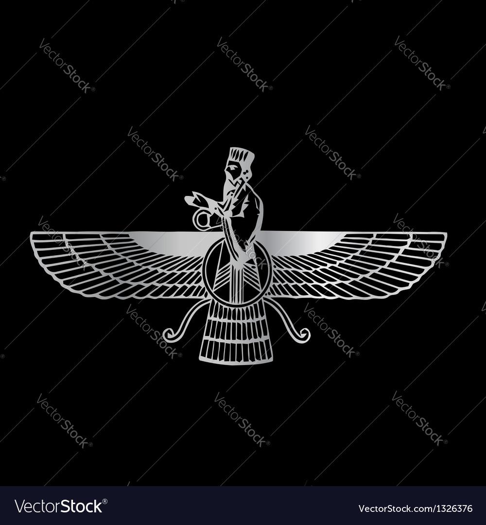 Faravahar- symbol of zoroastrianism religion vector | Price: 1 Credit (USD $1)