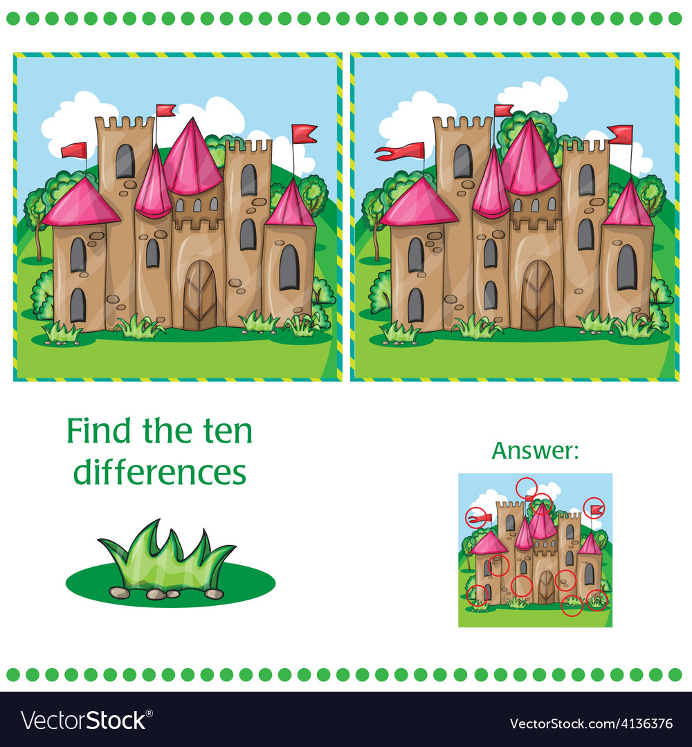 Find differences between the two images vector | Price: 3 Credit (USD $3)