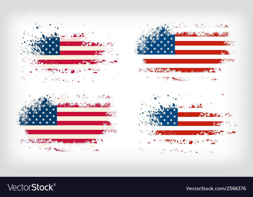 Grunge american ink splattered flag vector
