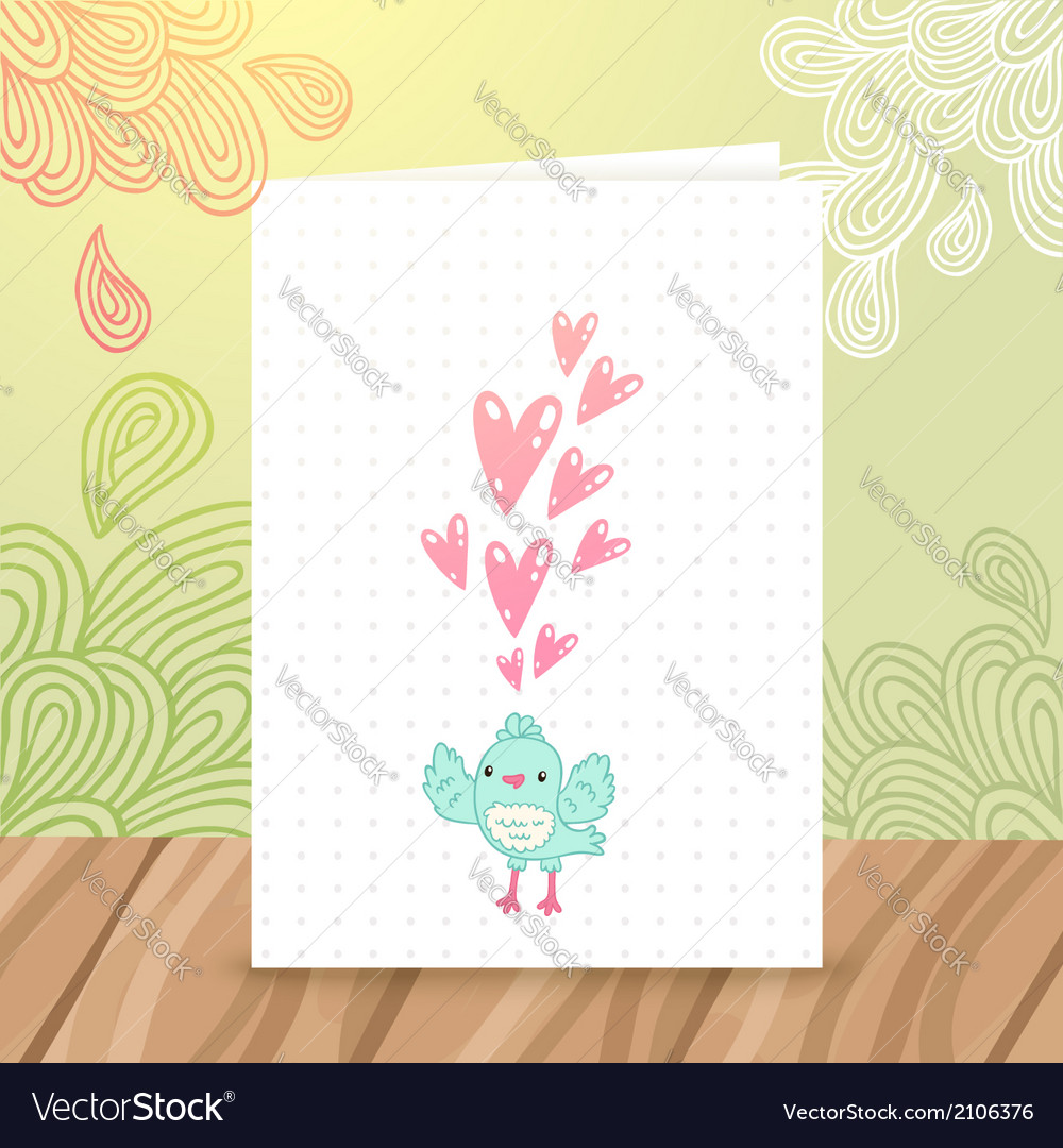Happy birthday postcard with bird and heart vector | Price: 1 Credit (USD $1)