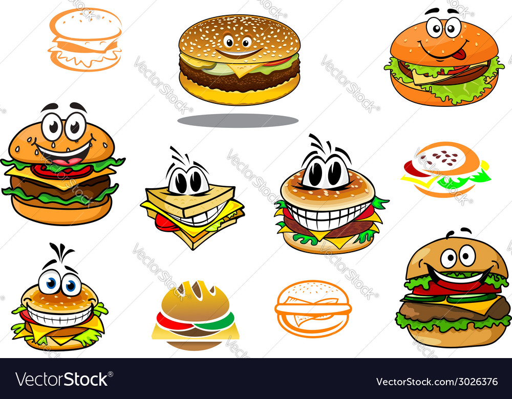Happy takeaway cartoon hamburger characters vector | Price: 1 Credit (USD $1)