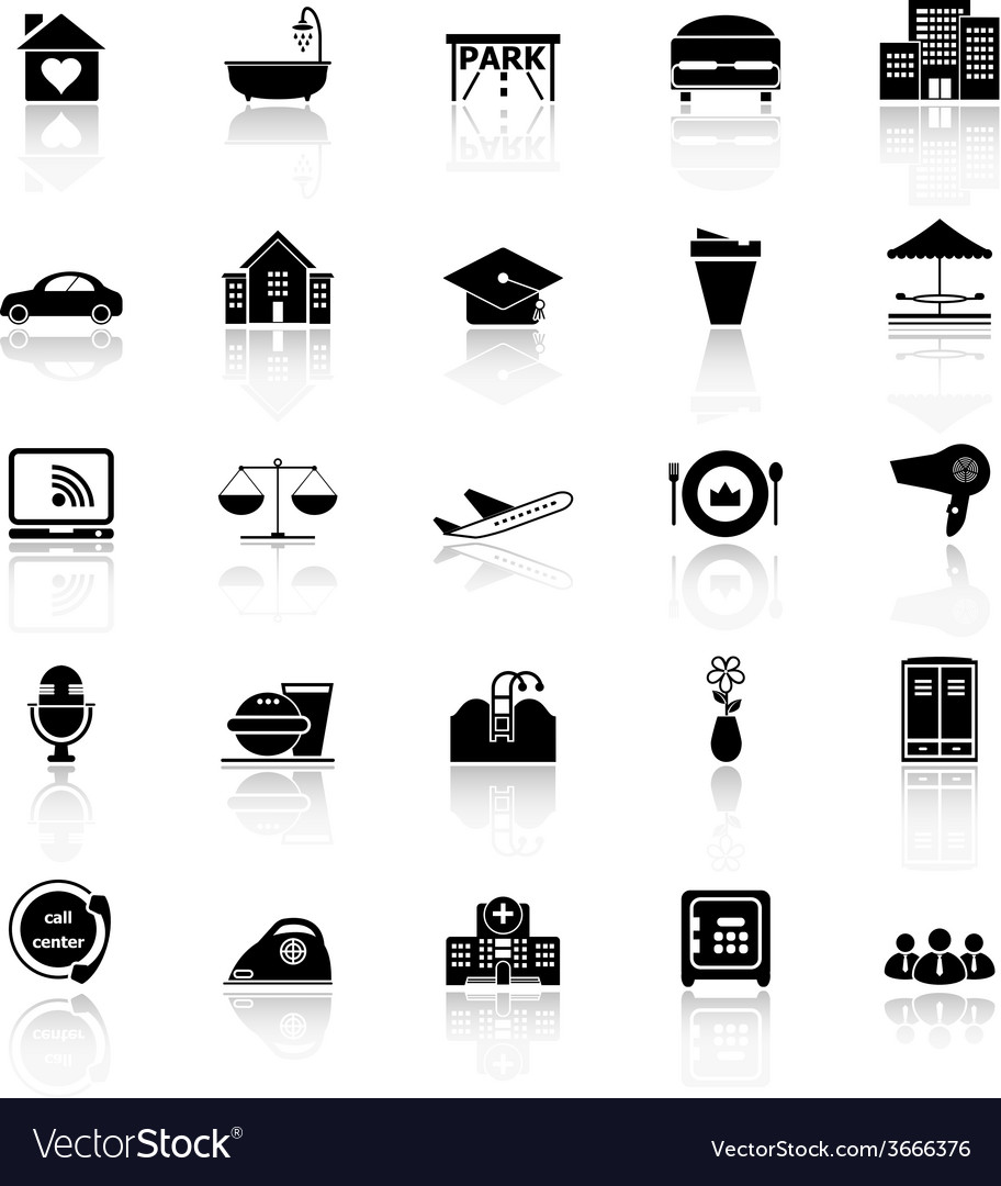 Hospitality business icons with reflect on white vector | Price: 1 Credit (USD $1)
