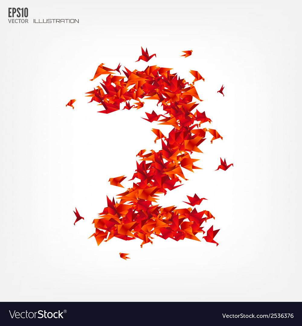 Number 2 numbers with origami paper bird on vector | Price: 1 Credit (USD $1)