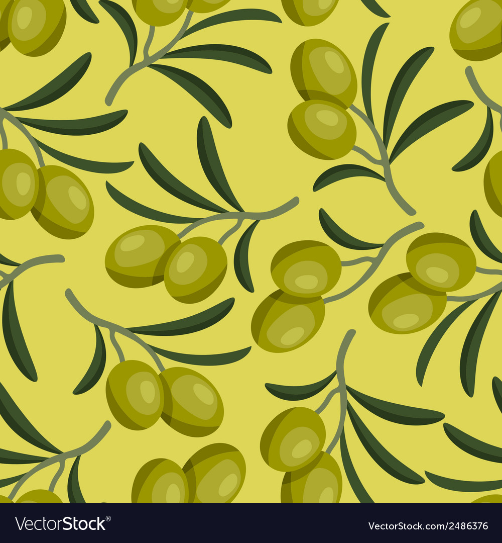 Seamless pattern with fresh ripe olive branches vector | Price: 1 Credit (USD $1)