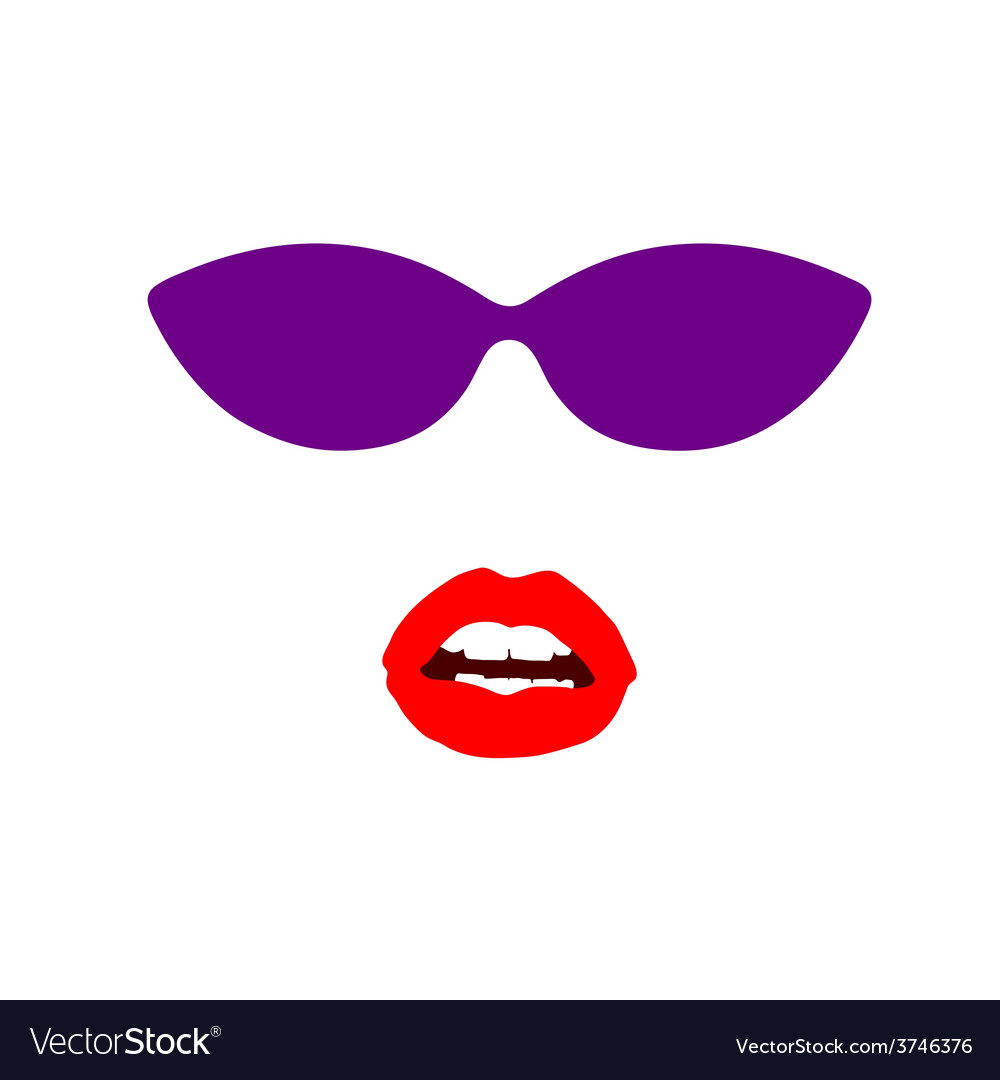 Sunglasses and lip face vector | Price: 1 Credit (USD $1)