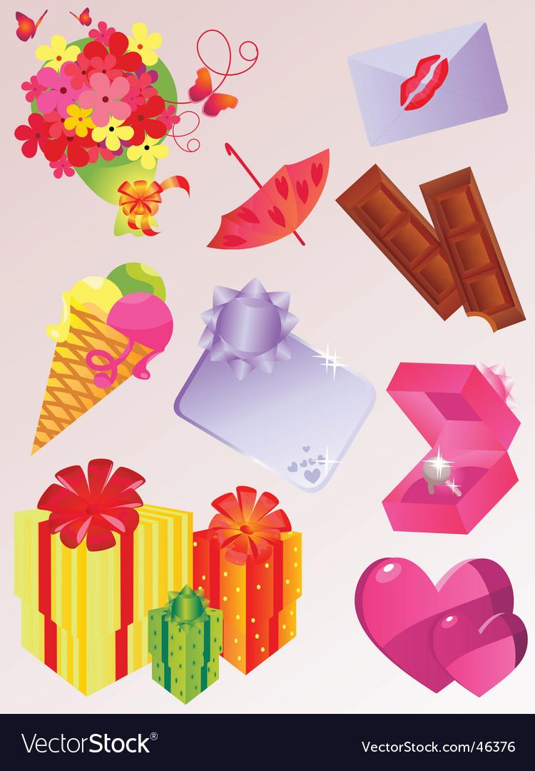 Valentine icon set vector | Price: 1 Credit (USD $1)