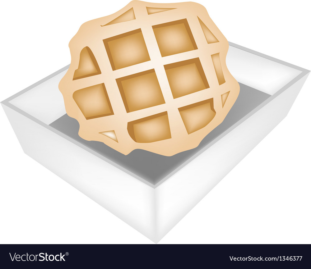 Baked round waffles in white paper box vector | Price: 1 Credit (USD $1)