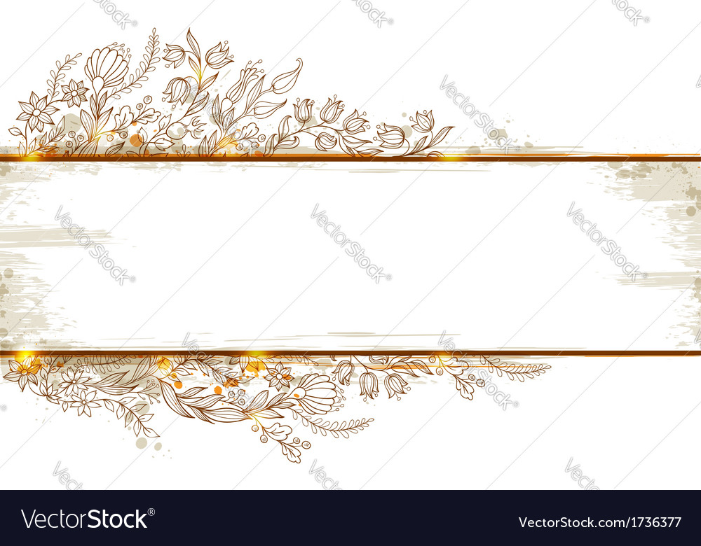 Doodle floral banner vector | Price: 1 Credit (USD $1)