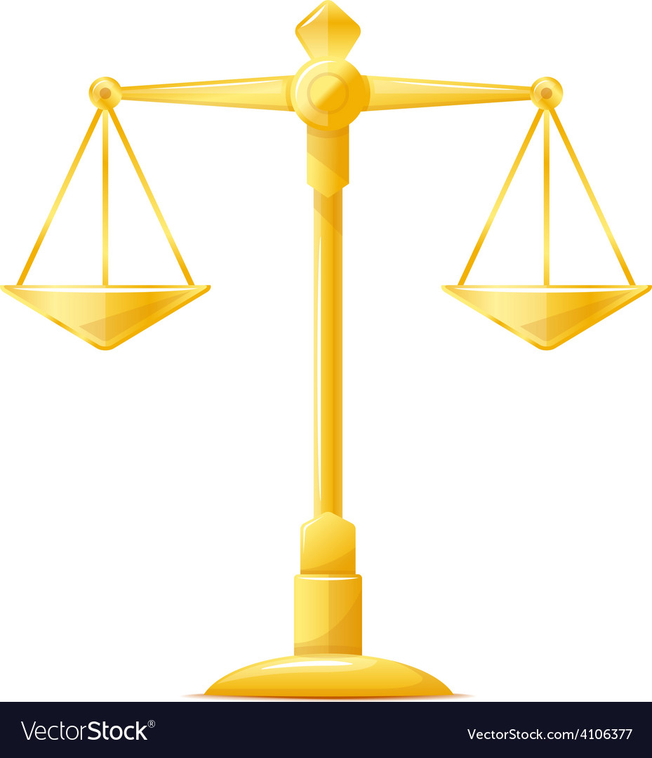 Gold justice scales vector | Price: 3 Credit (USD $3)