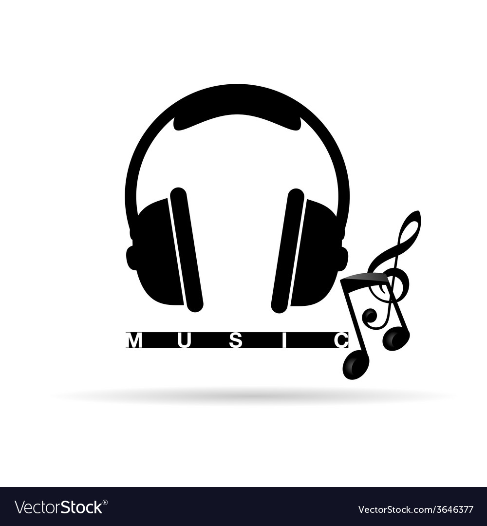 Headphones with music notes vector | Price: 1 Credit (USD $1)