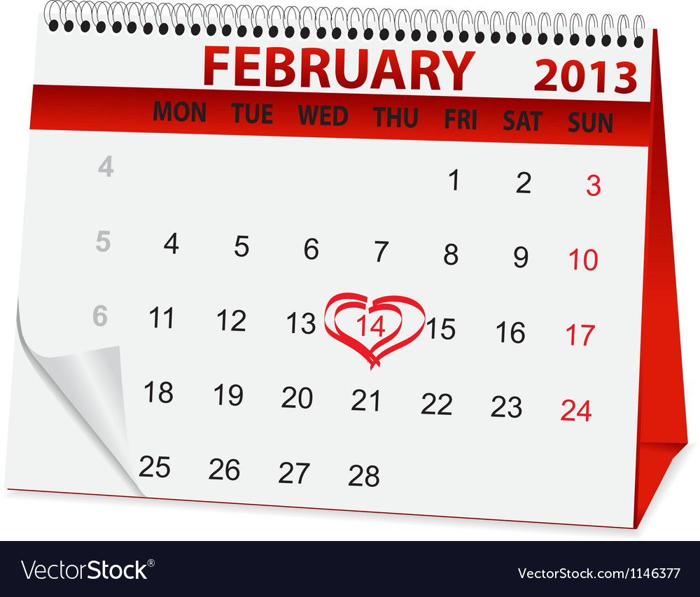 Holiday calendar for valentines day vector | Price: 1 Credit (USD $1)
