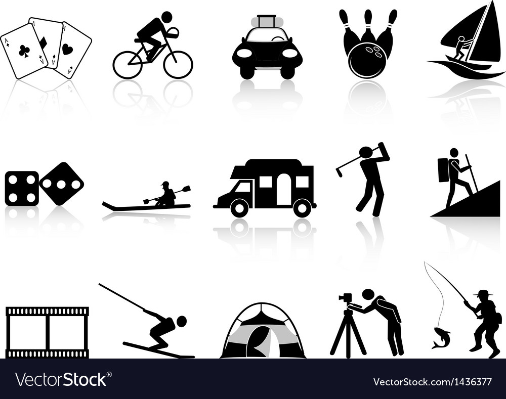 Leisure and recreation icons set vector