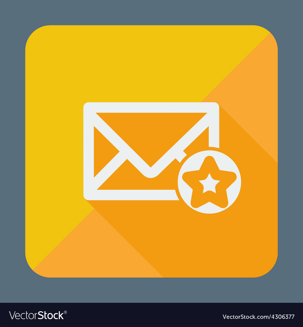 Mail icon simple star flat design vector | Price: 1 Credit (USD $1)